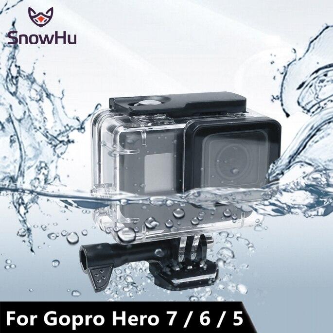SnowHu 45 M Waterpro para Acessórios Para Gopro Go pro 7 6 5 7 6 5 À Prova D' Água Caso Da Habitação Montagem para Gopro Herói 7 6 5 Com LD08