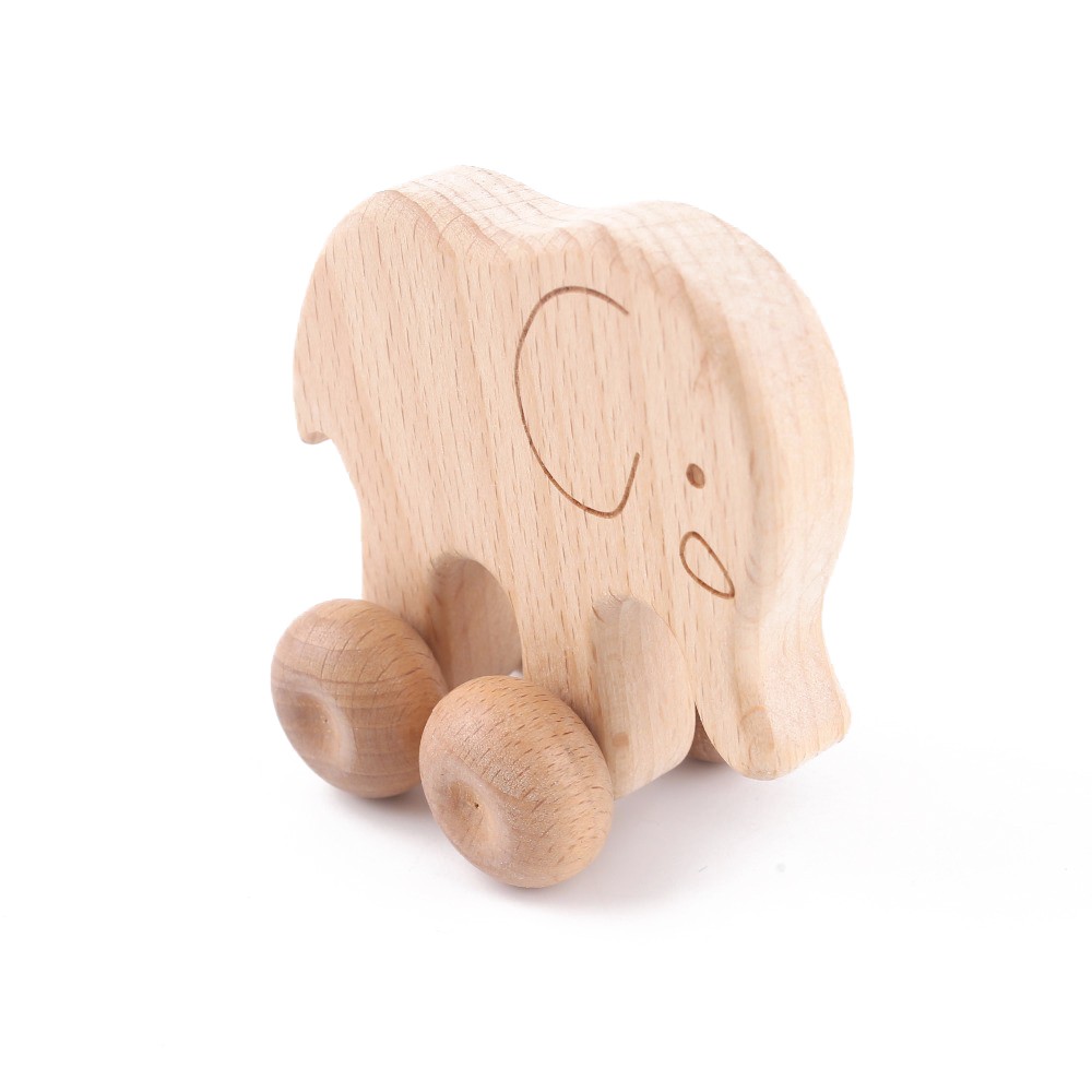 1PC Wood Teether Beech Wooden Elephant Car Shape Cartoon Wood For Children Grasping Teething Chewable Toddler Teethers Toys