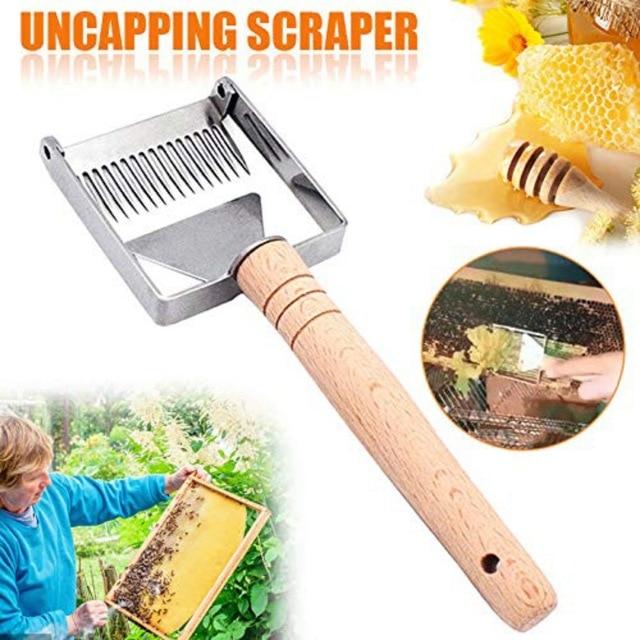 Stainless Steel Honey Scraper Bee Hive Honey Uncapping Fork Scraper Shovel With Wooden Handle Beekeeping Tool
