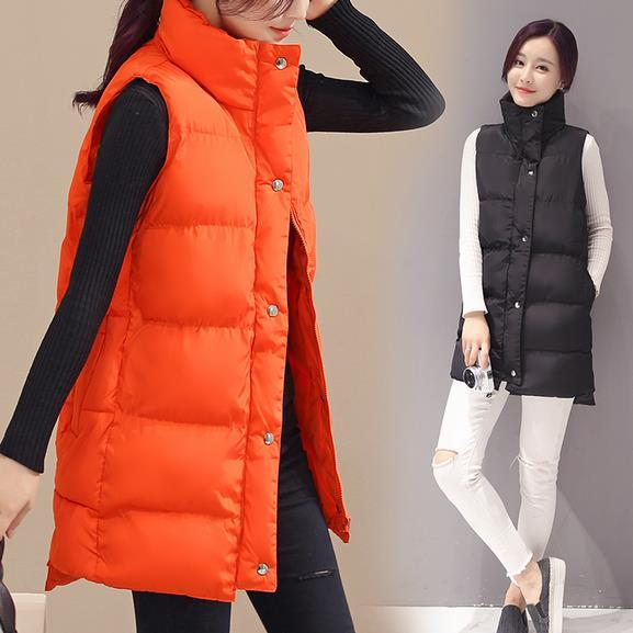 Autumn Winter long Coat Women Casual Waistcoat Sleeveless Cotton Vest Jacket