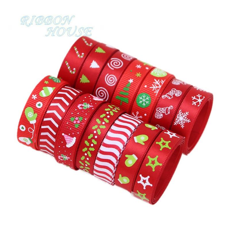 Christmas Ribbon DARK RED GOLD MERRY CHRISTMAS /& BELLS  ~ 5 yard Roll  10mm Wide