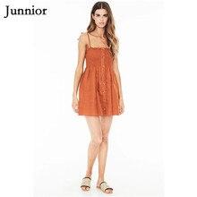 Junnior Summer Women Ginger Beachwear High Waist Mini Spaghetti Strap Dress for Female Frilled Peplum Holiday Dress Modis Kadin