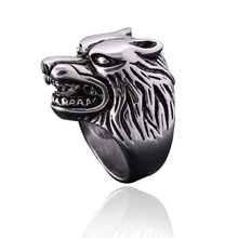 Gothic Men's Wolf Head Vintage Ring Punk Animal Rings Personality Titanium Steel Fashion Cool Biker Anillos For Men Accessories
