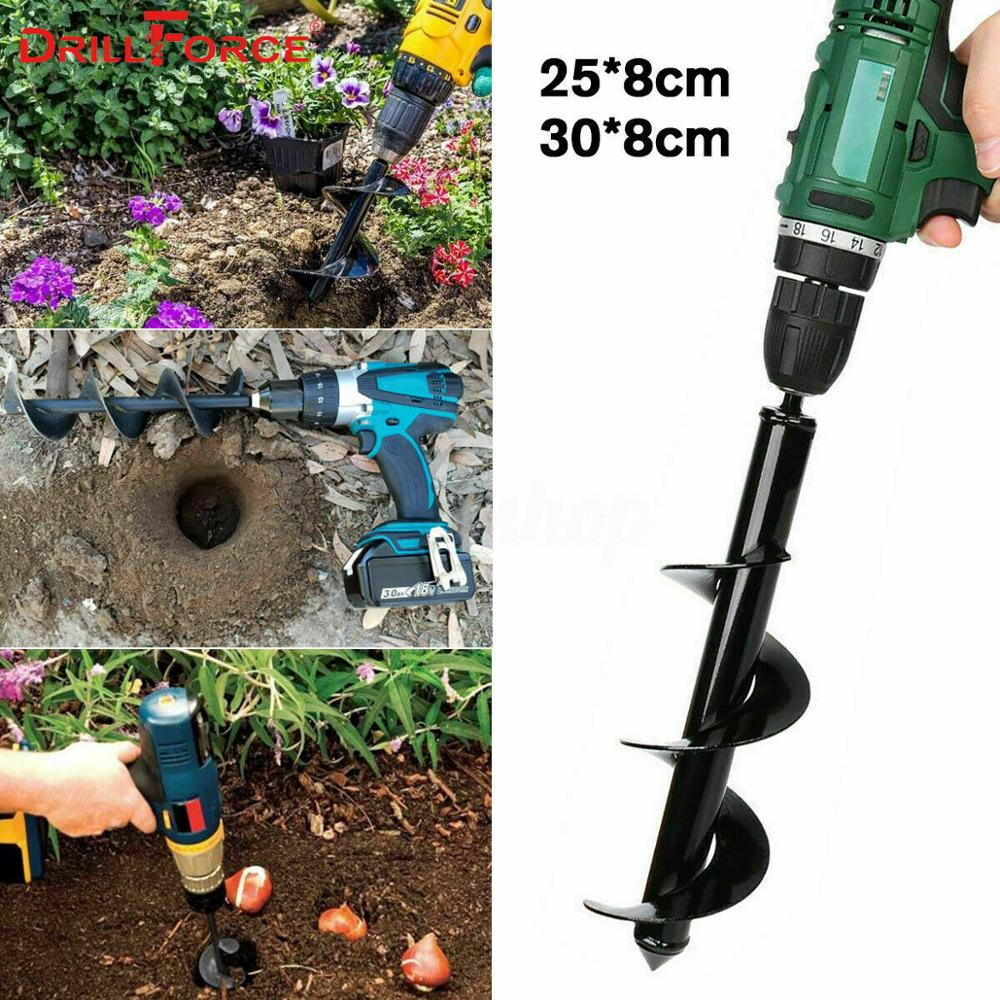 4.6*37cm Planting Auger Spiral Hole Drill Bit For Garden Yard Earth Bulb Planter