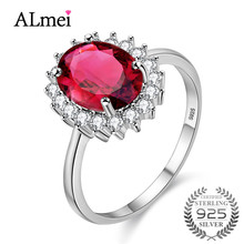 Almei 925 серебро Хризолит, гранат cirtine кольцо для Для женщин оригинальные каменные нет аллергии никель свободный с коробкой для дропшиппинг