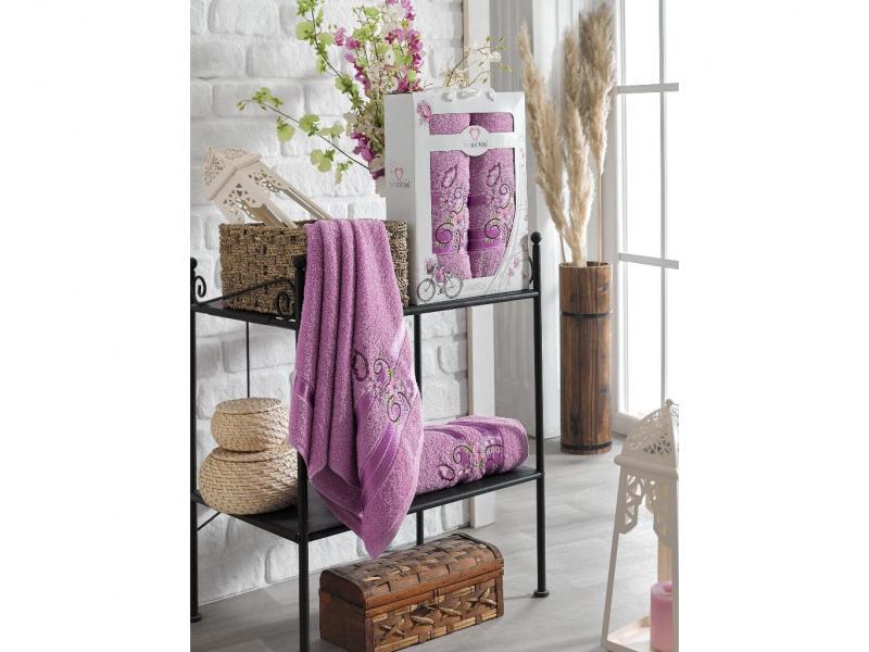 Towel set TWO DOLPHINS, Isabella, 2 subject, mauve two tone handle eye brush set 3pcs