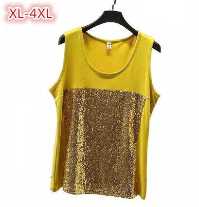 Summer Women Tank Top Vest Plus Size Sleeveless Tops Fashion Sequin Patchwork Cotton T Shirts Loose Woman Clothes XL 4XL
