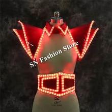 LZ20 Ballroom dance led costumes led light vest shoulder luminous stage belt bar singer dancer wears clothes women dresses dj