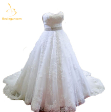 Bealegantom Sweetheart Lace Ball Gown Wedding Dresses 2017 With Appliques Backless Plus Size Bridal Gowns Robe De Mariage WD11-3