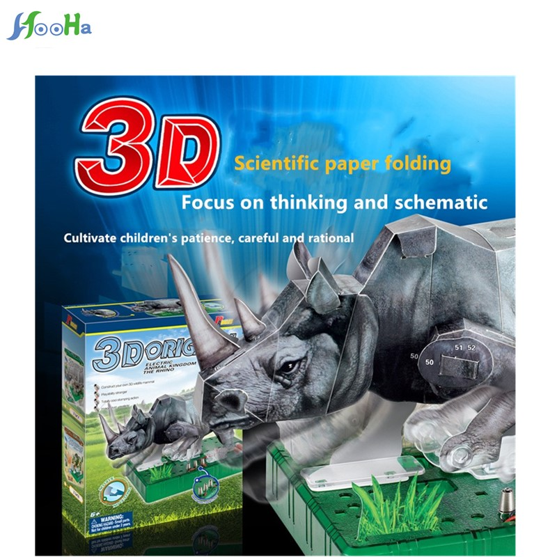 Science Experiment 3d Origami Electric Rhino Children Intelligence Multifunction Simulation Teaching