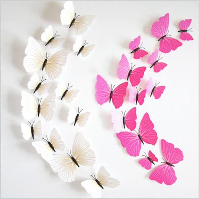 Hot Sale 3D Butterfly Wall Decals 12pcs/Set 6big+6small PVC 3D Butterfly Wall Sticker for Home Decoration