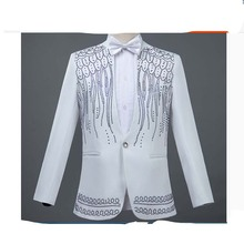 Chinese Style New Men Sequins Dress Suit Wiith Diamonds Singer Chorus Stage Show Suits Mens Performance Costume