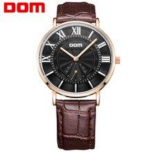 DOM Hombres Relojes top Marca de Moda de Estilo Deportivo de cuero de Oro Reloj de Cuarzo Luminoso Impermeable Relogio masculino Para Regalo M-3211