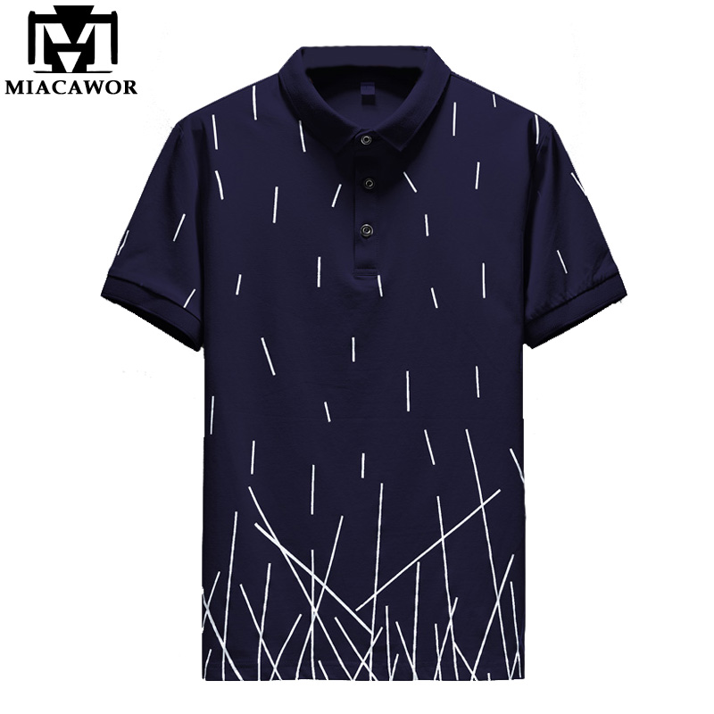 MIACAWOR New Summer   Polos   Men Cotton Short Sleeve Camisas   Polo   Fashion Print   Polo   Homme Casual Men Clothes MT651
