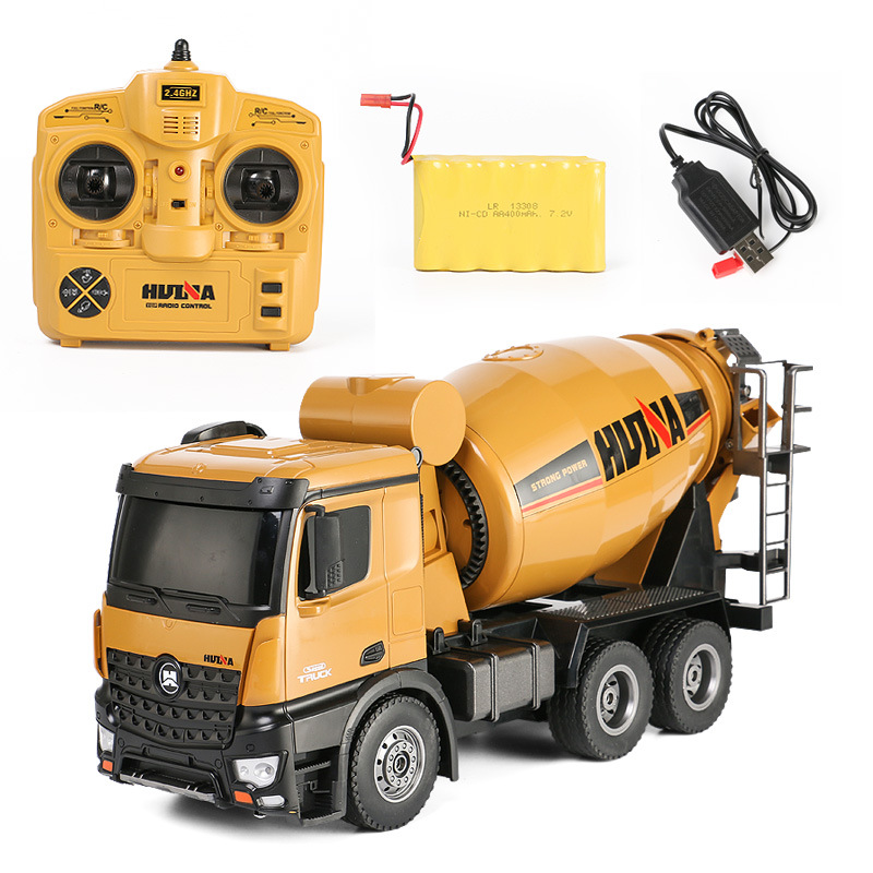 HUINA RC <font><b>Truck</b></font> Toy 574 <font><b>1:14</b></font> 2.4G 10Ch Concrete Mixer Engineering <font><b>Truck</b></font> <font><b>Light</b></font> Construction Vehicle toys for boys man camion jouet image