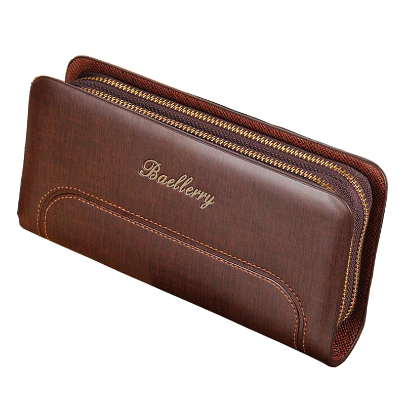 Hot Sale Men Wallets Large Capacity Double Zipper Business Multifunction Quality PU Leather Credit Card Holder Purse Wallet