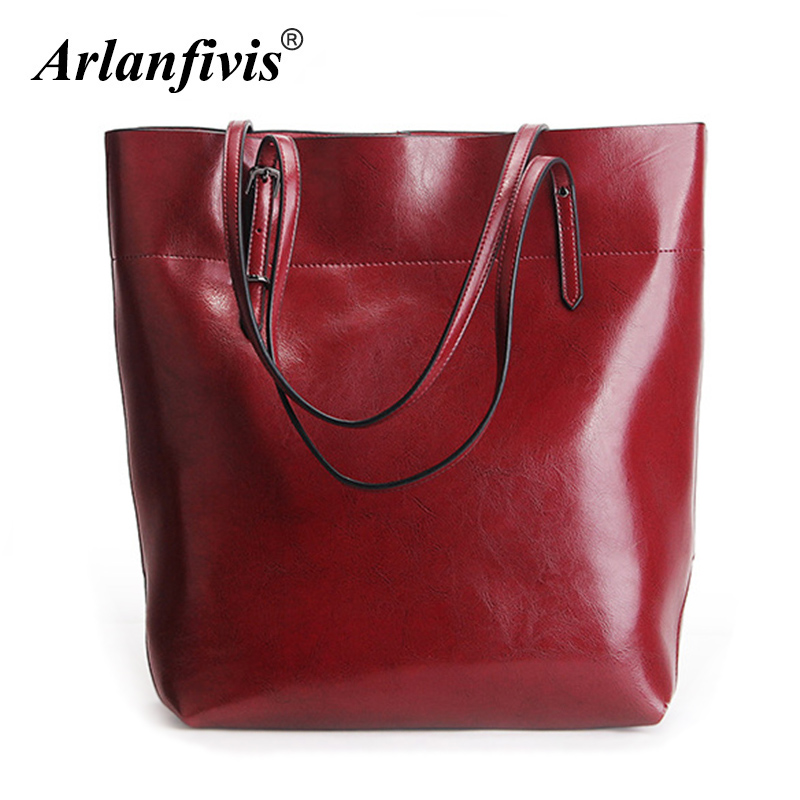 Arlanfivis Genuine Leather Large Capacity Luxury New 2018 Fashion Woman Bags bolsa feminina Handbag Tote Oil Wax Shopping Bag arlanfivis genuine leather new designer 2018 fashion woman bag cowhide large capacity female handbag wide strap crossbody bags