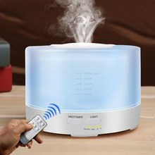500ml Remote Control Air Aroma Humidifier With 7 Colors Light Electric Aromatherapy Essential Oil Diffuser