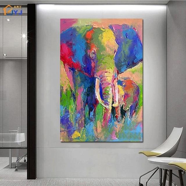 Gekleurde Olifant Foto voor Woonkamer handgeschilderde Moderne ...