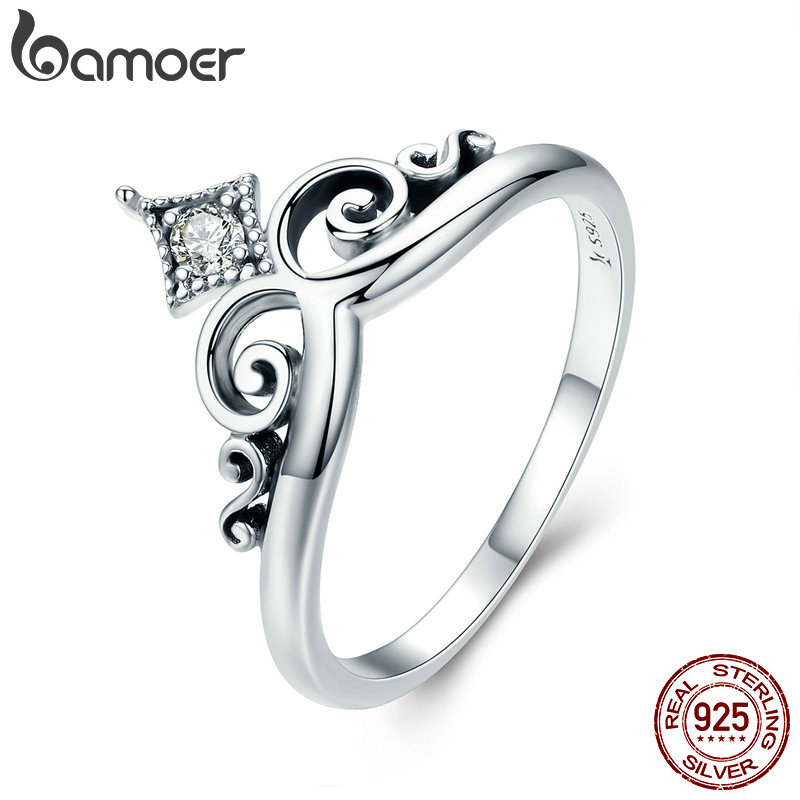 BAMOER 100% Real 925 Sterling Silver Dazzling AAA Zircon Princess Crown Female Ring
