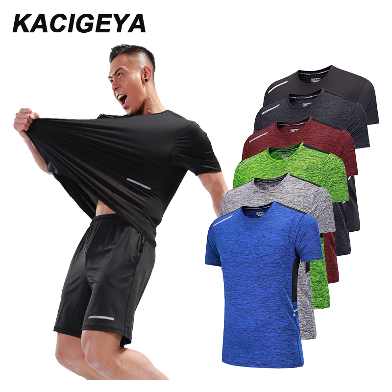 KACIGEYA Workout T Shirts Quick Dry Short Sleeve Outdoor Training 2018 Sportswear Man