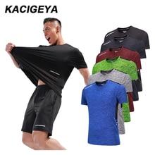 Для мужчин тренировки футболки быстросохнущая короткий рукав для тренировок на улице, Спортивная футболка Обувь с дышащей сеткой для бега Бодибилдинг футболка человек