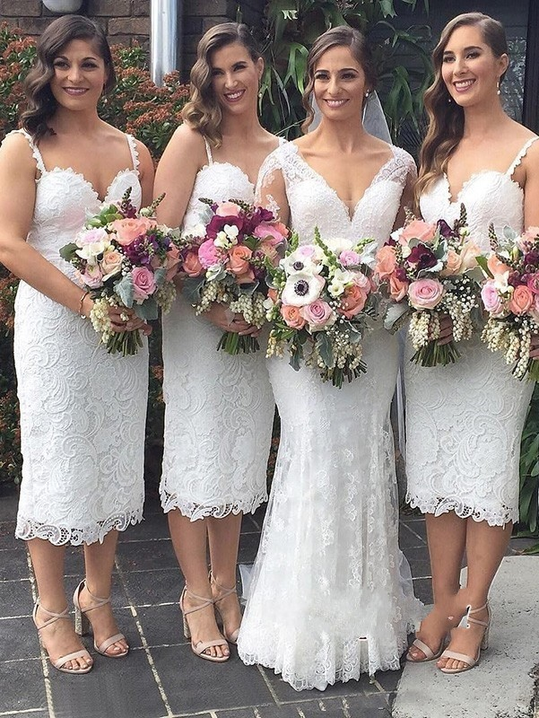 Stunning Knee Length Lace   Bridesmaid     Dresses   2019 Spaghetti Strap Sweetheart   Dress   For Wedding Party