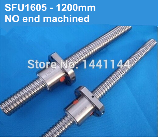 SFU1605- 1200mm Ballscrew with ball screw nut for CNC part without end machined