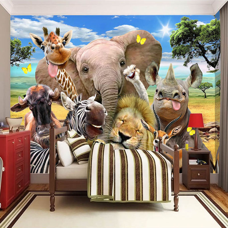 Custom Photo Wall Paper 3D Cartoon Grassland Animal Poster Mural Children's Room Bedroom Wallpaper Murales Papel De Parede 3D