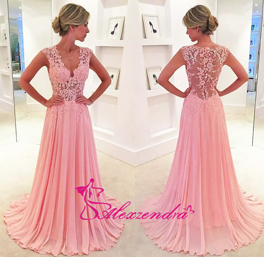 Aliexpress.com   Buy Alexzendra V Neck Chiffon Long Formal Evening Dress  Lace Illusion Back Prom Dress Party Gowns from Reliable party gown  suppliers on ... 576562b7afc4