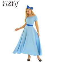 Kobiety kostium cosplay na Halloween Wendy sukienka Boat Neck krótki Puff rękawy księżniczka Party Fancy sukienka w dużym rozmiarze z nakrycia głowy i pasek