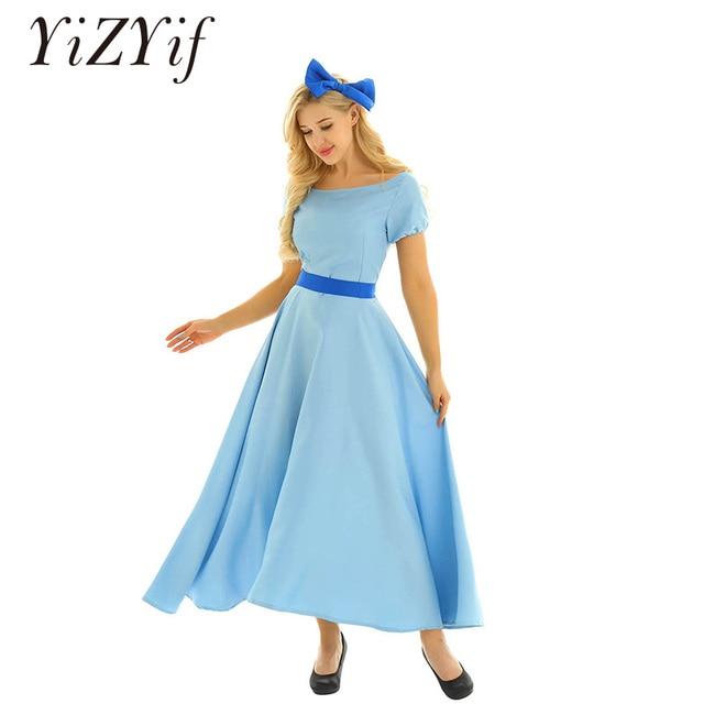 Robe Wendy pour femme, Costume de Cosplay dhalloween, col bateau, manches bouffantes courtes, pour les fêtes de princesses, Maxi chic, avec couvre chef et ceinture