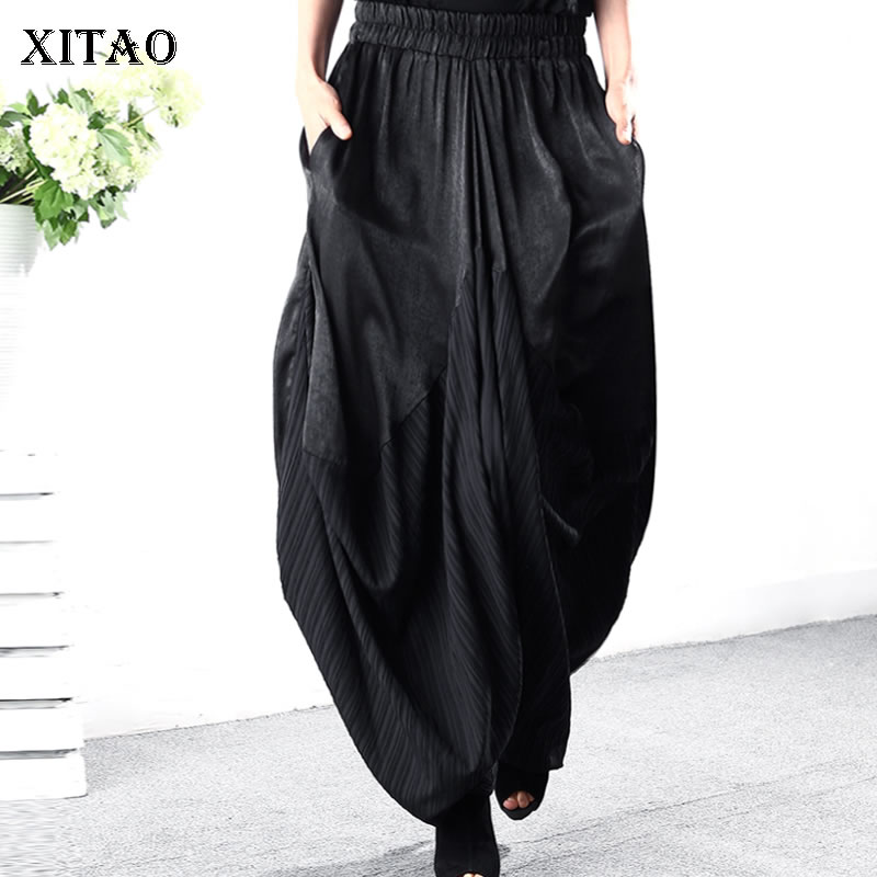 XITAO 2019 New Europe Vintage Loose Striped Harem Pants Fashion Women Elastic Waist Summer Ankle