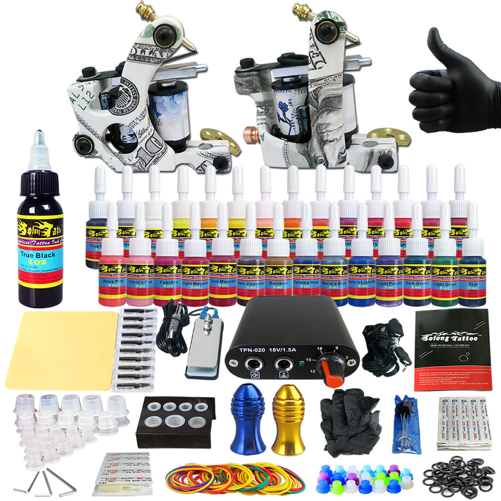 Stigma 2018 New High Quality Tattoo Machine Kit Sets Machine Professional TK204 17 Power Supply Inks
