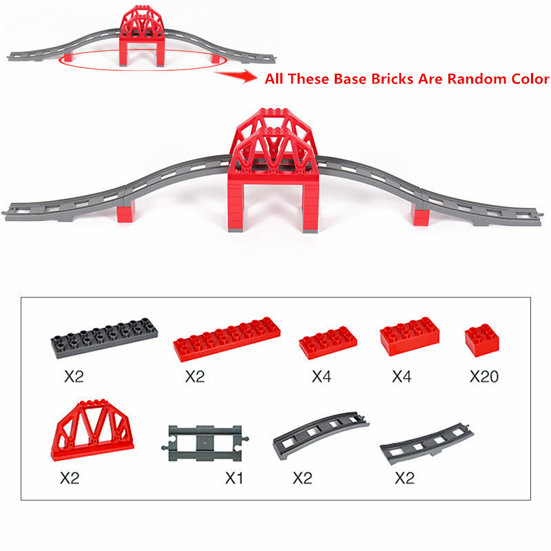 Diy Big Size Duploe Train Bridge Accessories Building Blocks Tracks Bricks Compatible with Legoingly Duploed Toys For Kids Gifts