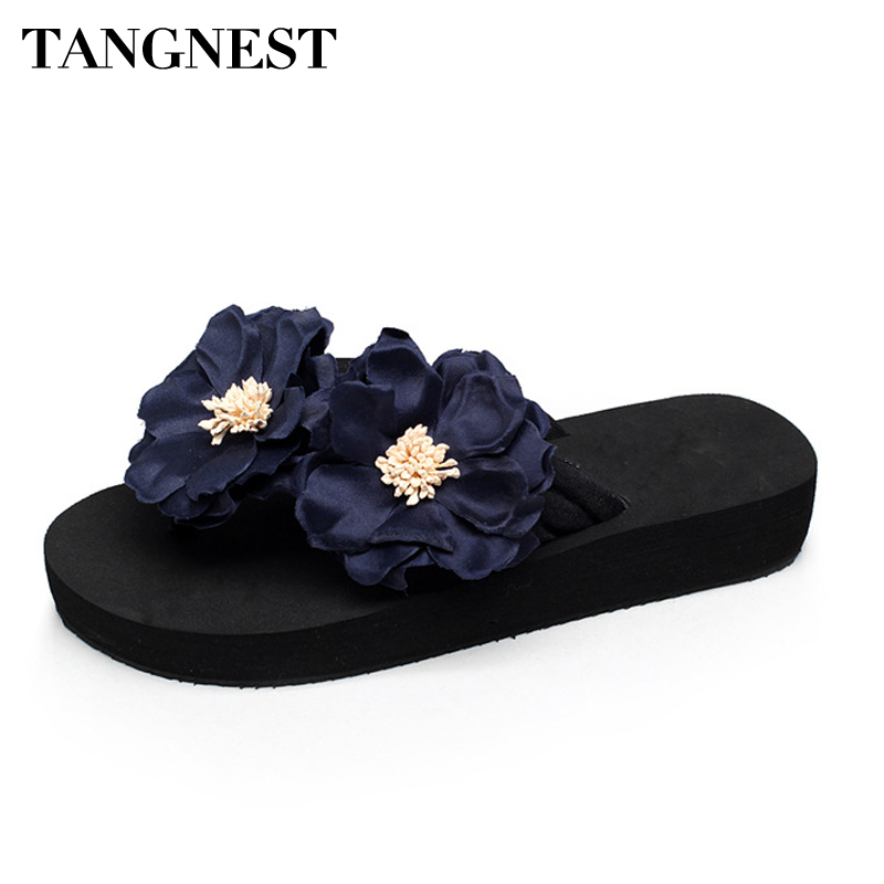 Tangnest New Summer Women Slippers Sweet Flowers Women's Flip Flops Casual Beach Non-Slip Slides Shoes Big Size 35~41 XWT701 yeerfa 2017 wedges sandals beach flowers flip flops slip on flats platform shoes woman casual creepers pearl slippers size 35 41