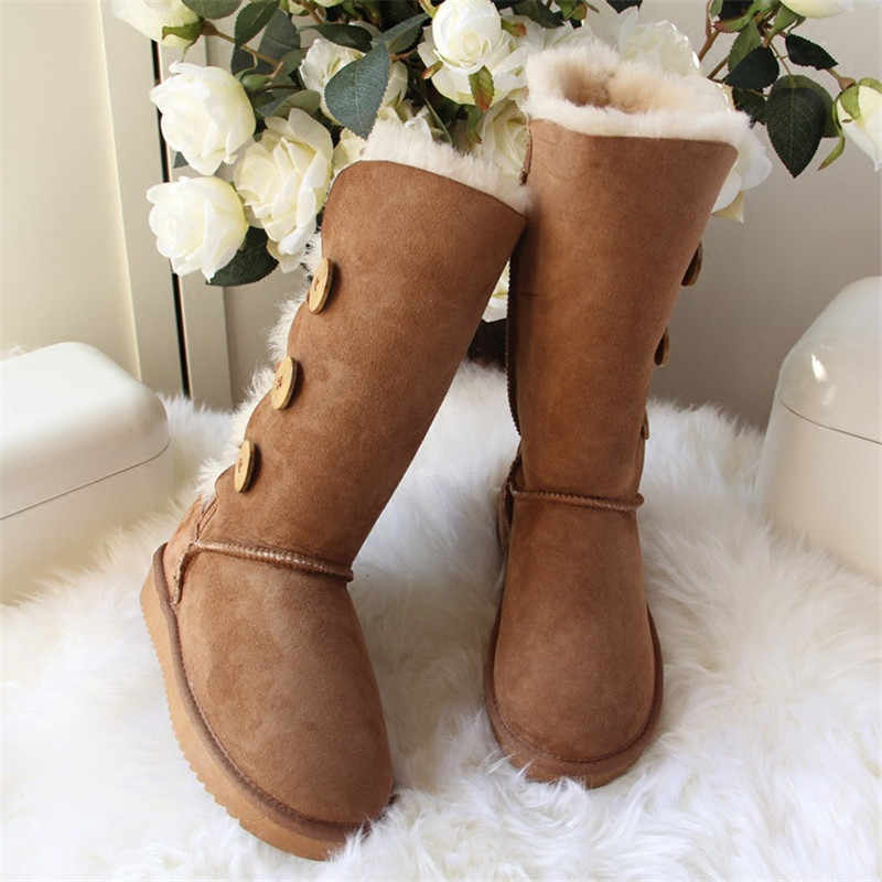 grwg Hot Sale Fashion Genuine Sheepskin Leather Snow Boots Natural Fur Winter  Boots Waterproof Warm Thick fae4d0ec733e