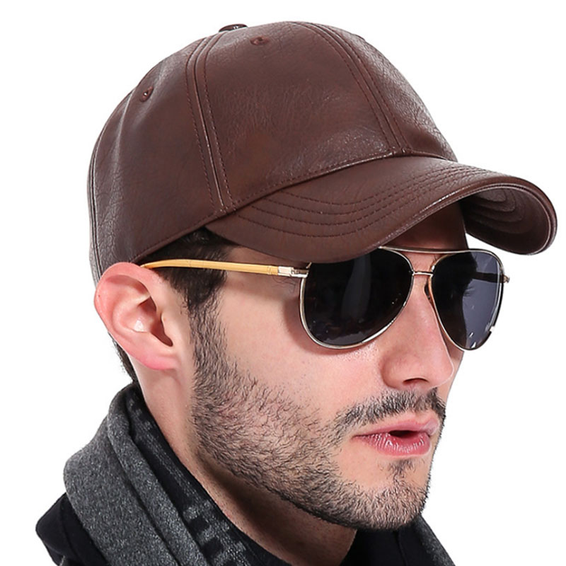 AETRENDS  Winter black PU leather cap dad hat 6 panel trucker hats solid  baseball caps for men bone masculino Z 2658-in Baseball Caps from Apparel  ... 6e2e62cdfa1