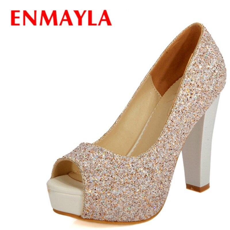 8d8b78d5 ENMAYLA kobiety letnie buty na wysokim obcasie Glitter obuwie damskie  kobieta Peep Toe buty na koturnach kobiety White Gold Party buty ślubne  pompy
