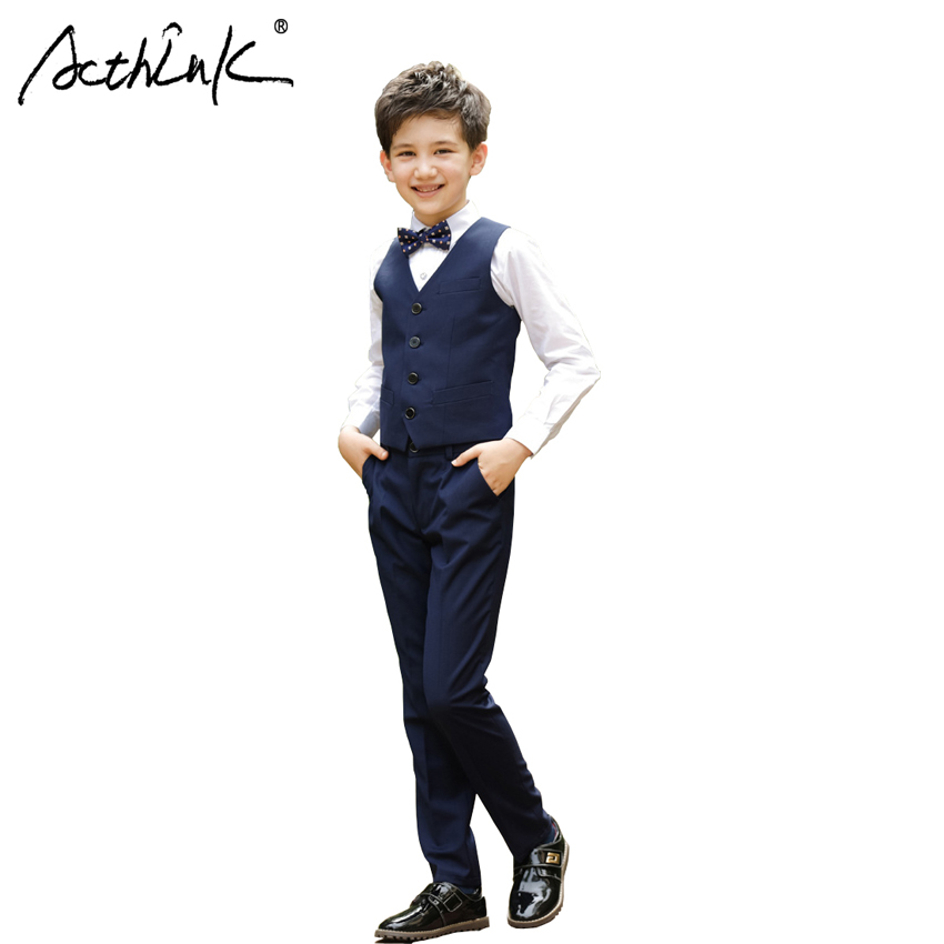 ActhInK 3Pcs Boys Vest Suit with Bowtie Brand New 2017 Teenage Boys Formal Tuxedos Suit Wedding Costume School Boys Uniform,C259 acthink new boys summer formal 3pcs shirt shorts waistcoat suit children england style wedding suit with bowtie for boys zc033