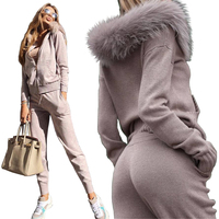 Two Piece Winter Set Zipper Tracksuit for Women Sweater Set Pant New Womens Knitted Two Piece Sets Slim Hooded Sweater Pant Suit