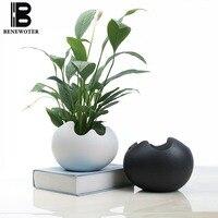 European Style Brief Succulent Ceramic Flower Pot Indoor Office Desktop Plants Hydroponic Bonsai Garden Planter Pots for Flowers