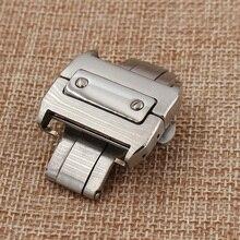 18mm 21mm Plata de la Mariposa de Implementación de Cierre Hebilla de Reloj de Acero Inoxidable Correa de Cuero Banda