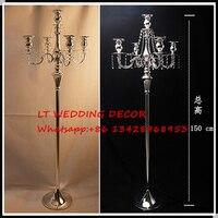 150 см высотой 5 руки кристалл свадебный центральным/СВАДЕБНЫЕ КАНДЕЛЯБРЫ/Свадьба Колонка/Crystal компонент/высокие свечи держатель