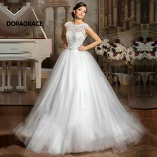 Custom Made Romantic A Line Applique Lace Wedding Gowns Tulle Dresses vestido de noiva DG0025