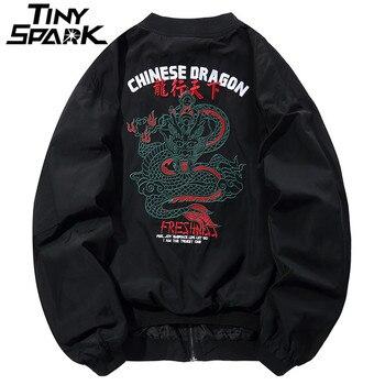 Chaqueta con bordado de dragón para hombre Hip Hop Bomber chaquetas  Streetwear estilo chino Pliot Chaqueta corta abrigo Harajuku Casual otoño  2018 b7988b3bbd4