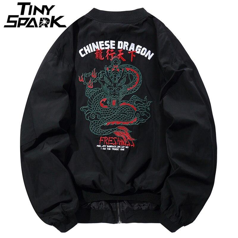 Dragon Broderie Veste Hommes Hip Hop Bomber Vestes Streetwear Chinois Style Pliot Veste Courte Manteau Harajuku Casual Automne 2018
