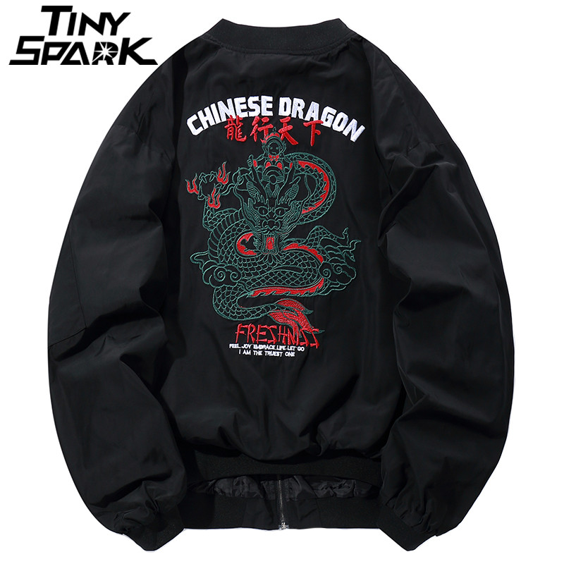 Dragon Embroidery Jacket Men Hip Hop Bomber Jackets Streetwear Chinese Style Pliot Short Jacket Coat Harajuku Casual Autumn 2018