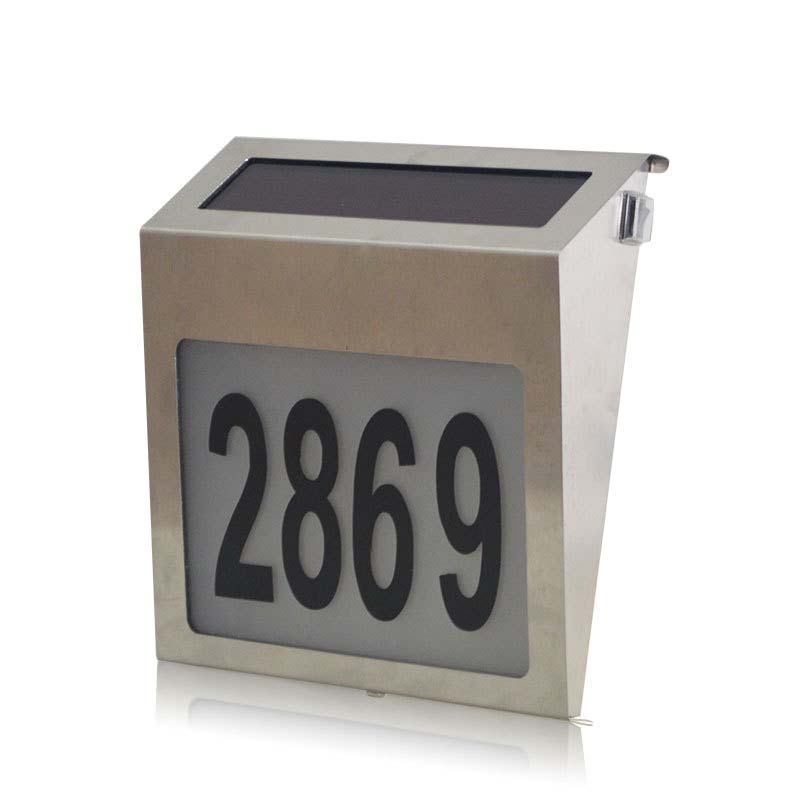 New Arrival Stainless Solar Powered LED Illumination Doorplate Lamp House Number Light Door Night Lighting HR solar powered 2 led wall mount lamp home house road signs number led light waterproof ip44 digital led number solar door light
