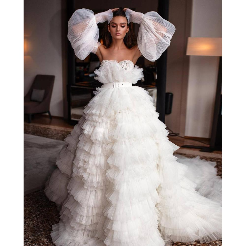Erstaunlich Weiß Tiered Tüll Prom Kleider Weg Von der Schulter Formale Kleid mit Abnehmbaren Ärmeln Braut Kleid Hohe Qualität Party Kleider